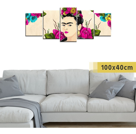 Cuadro Grande Políptico Pintura Frida Kahlo Decorativo Arte