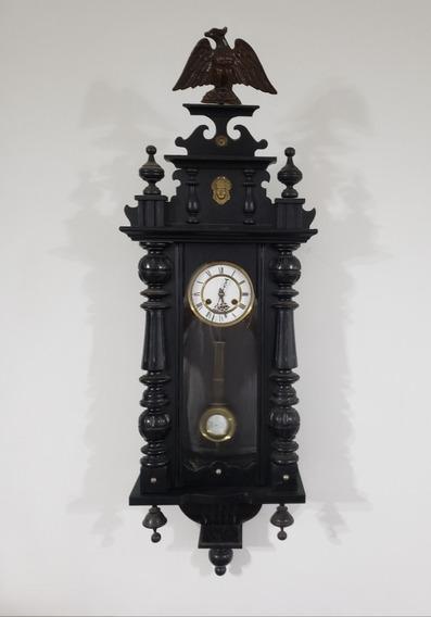 Relógio Parede Alemão Gigante Negro Águia Mostr. Porcelana.