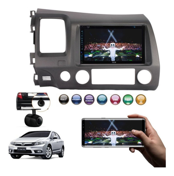 Dvd 2 Din Central Multimidia New Civic 07/11 Rayx + Camera