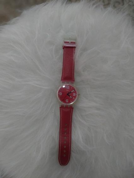 Relógio Swatch Water Resistant Pulseira De Couro Vermelha ,
