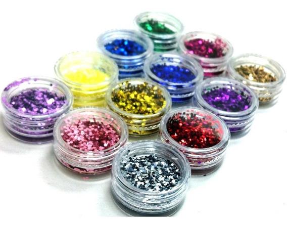 Kit Glitter Flocado Unhas Encapsuladas 12 Decoração Nail Art