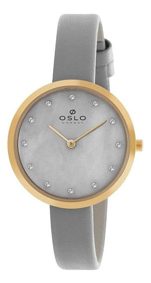 Relogio Oslo Feminino Slim Ofgscs9t0002 Cinza Pu-couro