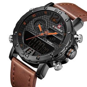 Relógio Masculino Pulseira Couro Naviforce Resistente Sporte