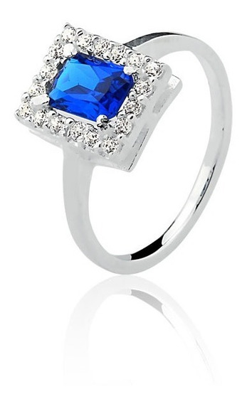 Anel De Prata Princesa Retangular Azul Safira Prata Rara