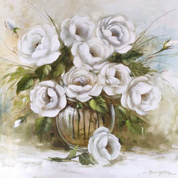 Quadro Rosas Brancas No Vaso Transparente Grande