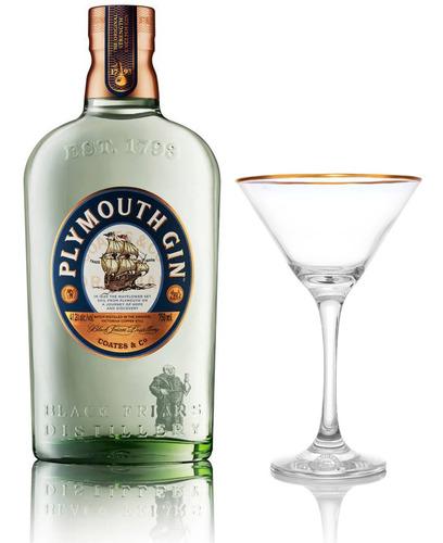 Kit Gin Plymouth Original 750ml + Taça Martini Plymouth
