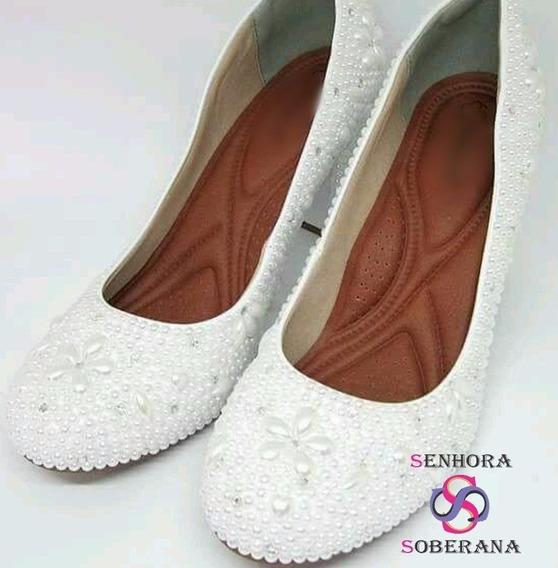 Sapato Meia Pata (salto Grosso) Branco Perolado (noivas)