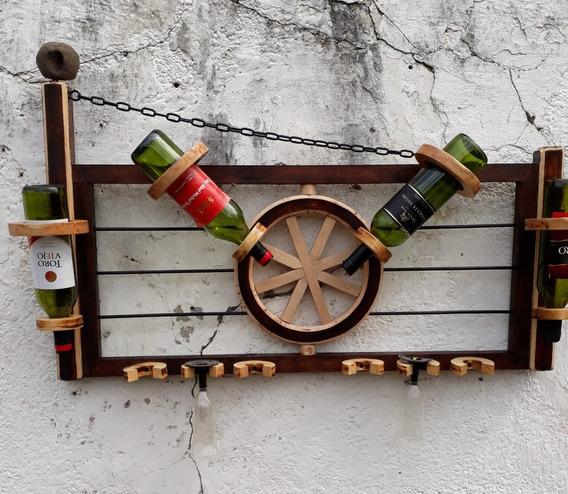 Bodega Tranquera Para 4/5 Botellas Y 6 Copas