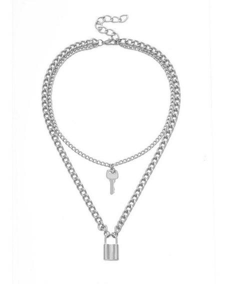 Collar Doble Llave Candado Colgantes Dorado/plateado De Moda
