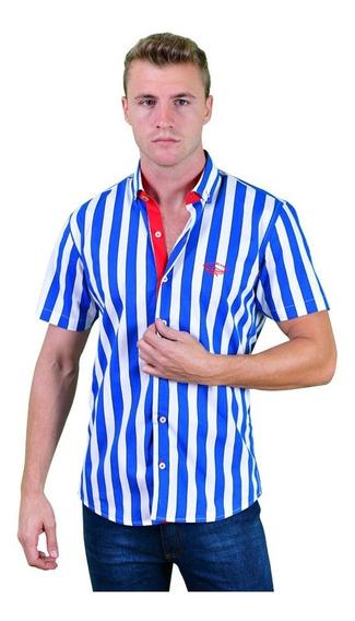 Porto Blanco Camisa Caballero Palmeras Manga Corta