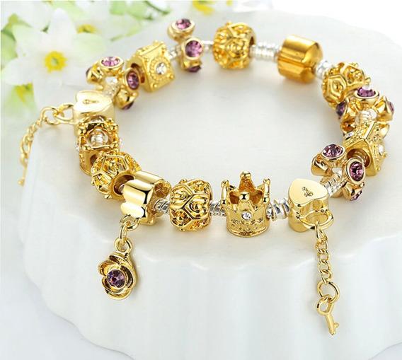Pulseira Estilo Pandora Dourada Chave Do Coração Coroas