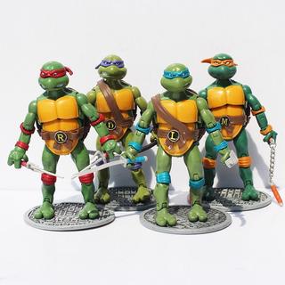 Tortugas Ninjas X 4 Con Accesorios 17 Cm Articuladas Loose
