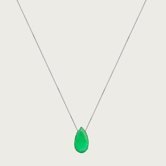 Gargantilha Gota De Prata Com Zircônia Verde