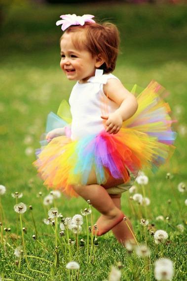 Saia Tutu Tule Infantil Rainbow + Faixa Meninas Fotografia