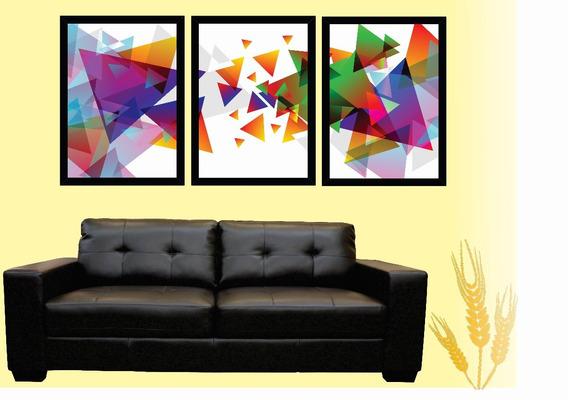 Trio De Quadros Geometrico Triangulares 3 Peças Sala 20x30