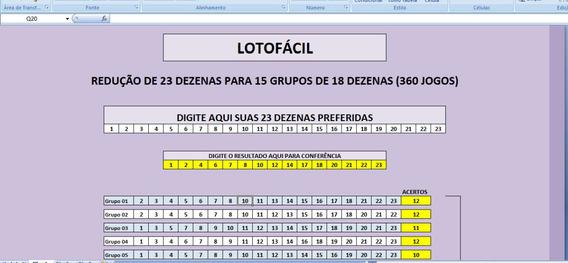 Redução Lotofácil De 23dz Para 15grupos De 18dezenas
