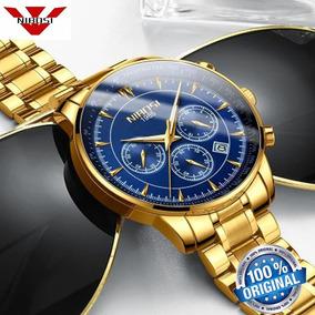 Relógio Nibosi 2357 Dourado E Azul De Luxo Casual Original