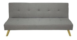 Sofa Cama Bed Napa Lino Light Grey Pata Madera Futon Sillon