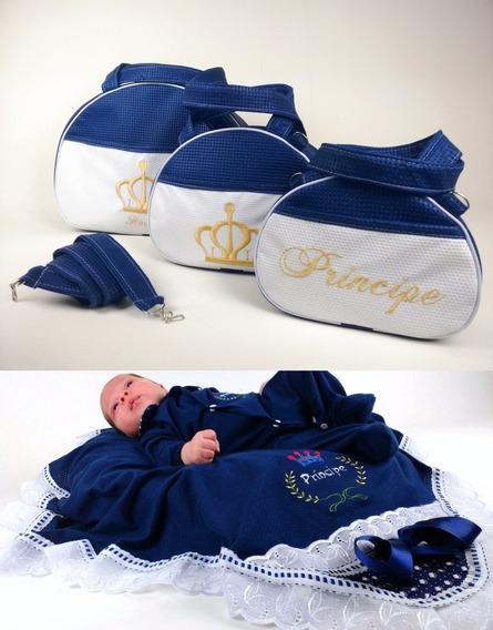 Kit 3 Bolsas De Bebe + Saida De Maternidade 2pçs Total 5 Pçs