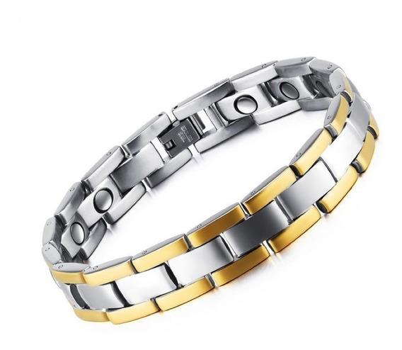 Pulseira Masculina Aço Tungstênio + Ouro 18k + Magnéticos