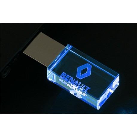 Pen Drive 16gb Cristal Renault Azul + Caixa Portátil