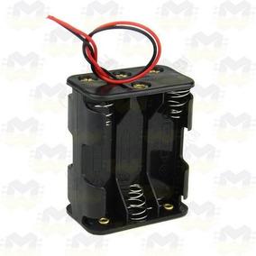 Suporte Porta 6 Pilhas Aa Com Cabo Arduino Esp8266 Bateria