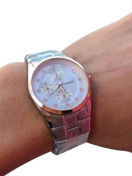 Relógio Orient Feminino Aço Prata Com Ouro Rosa Original Nf