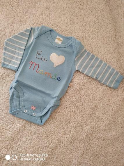 Body Best Club Baby Azul E Branco Listrado Eu Amo Mamãe