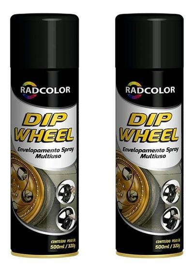 2 Spray Preto De Envelopamento Líquido Dip Wheel 500ml