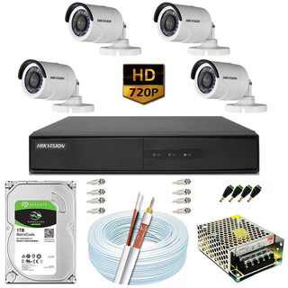 Kit Cftv 4 Câmeras 20m Hd 720p 1mp Dvr Hikvision Ds-7208 8ch