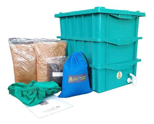 Composteira Doméstica 45 Litros Verde- 3 Caixas De 15 Litros