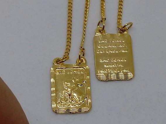 Escapulario Banhado A Ouro 18k São Jorge