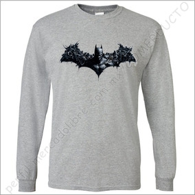 Playera Batman Arkham Manga Larga Gris Jaspeado Trnsfr