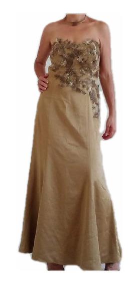 Vestido De Festa Dourado Modelo Sereia Com Apliques Bi In