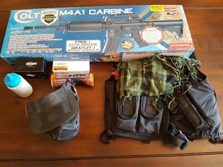 Kit Airsoft Rifle Colt M4a1 Carbine Munição Colete Máscara