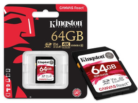 Cartão Sd 64gb Kingston Canvas React Sdxc Classe 10 Original
