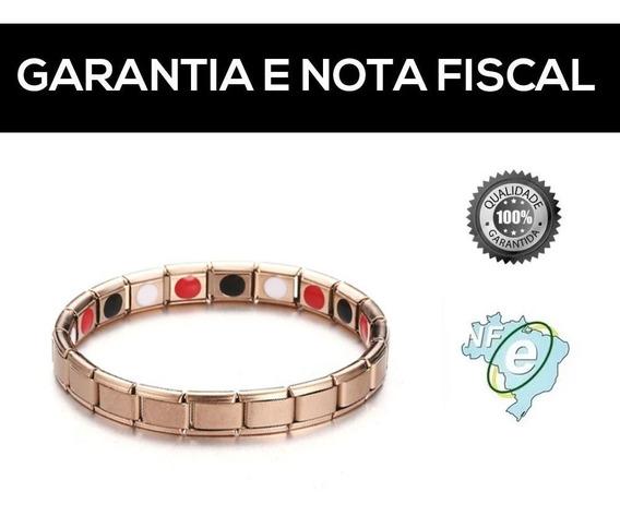 Pulseira De Cobre Magnética Ións Feminina Bronze Rose + Nf