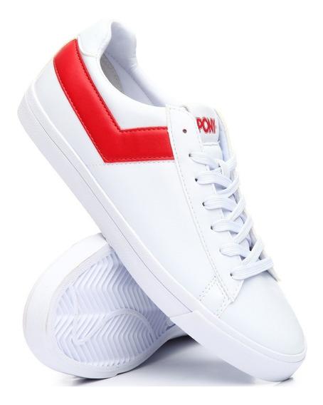 Zapatillas Pony Topstar Ox New Pele Blanco Con Rojo