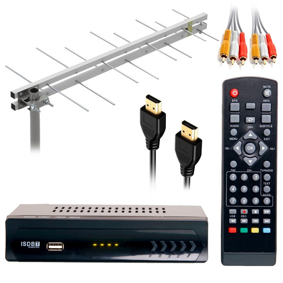 Kit Conversor Tv Digital Gravador Hdmi + Antena Externa Uhf