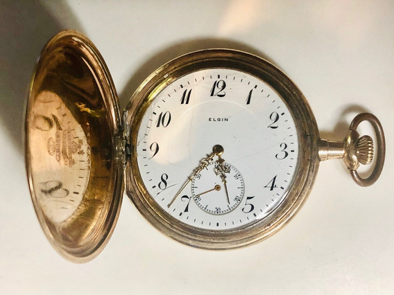 Relógio Bolso Caçador Elgin Americano Folhado Ouro 15 Rubi