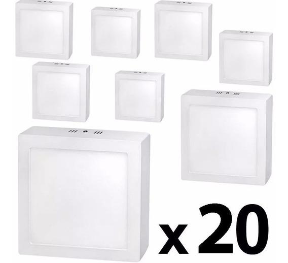 Kit 20 Painel Plafon Quadrad Luminária Sobrepor Led 25w Frio