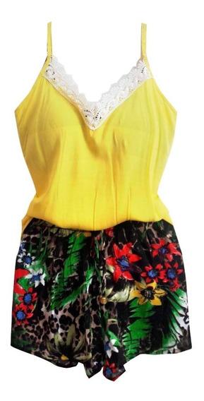 Blusa Regata E Short Estampado Conjuntos Femininos Da Moda