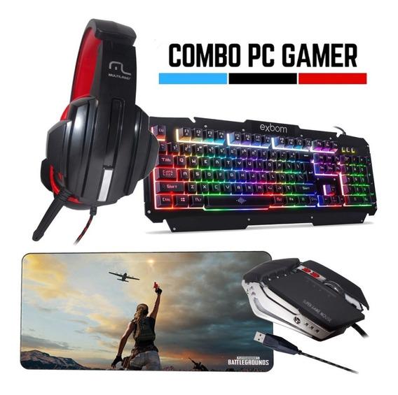 Kit Gamer Completo Teclado Mouse Headset Mousepad Pc Gamer -