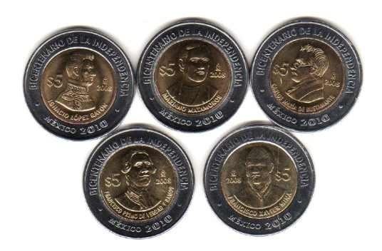 1 Moneda Bimetalica Mejico Revolucion E Independencia 2010