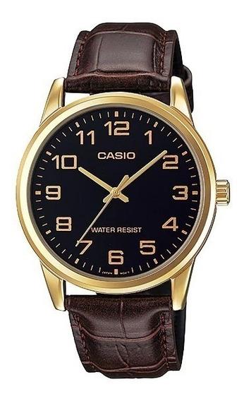 Relógio Casio Masculino Mtp-v001gl 1bu Dourado Couro Marrom