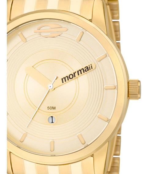 Relógio Masculino Mormaii Maui Dourado Aço Mo2115ac/4d Original C/ Garantia De 1 Ano