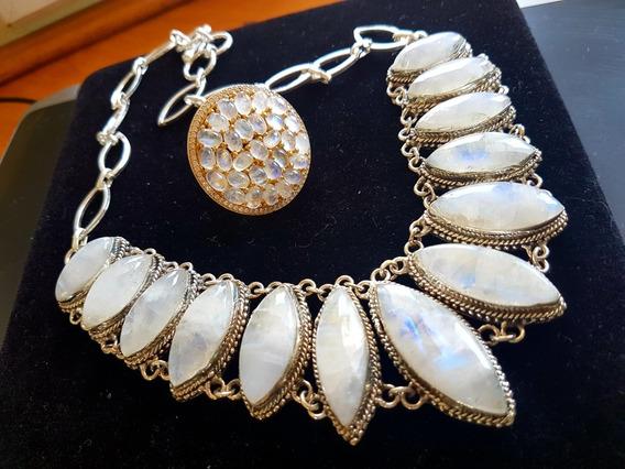 Promoção!!! Colar E Anel Com Pedras Da Lua Autenticas!!!