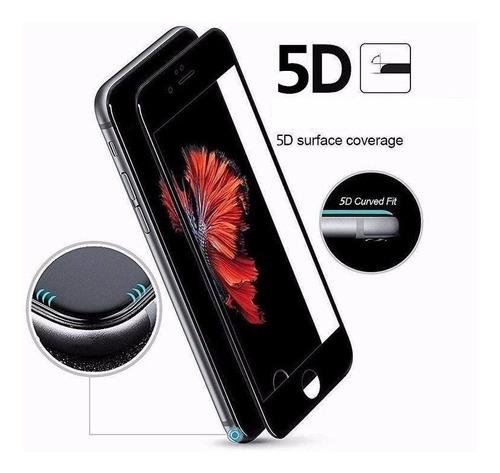 Vidrio Templado 5d iPhone 7 Plus  Curvo  Negro