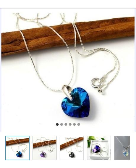 Collar Con Dije Corazon Cristal Swarovski Elements.
