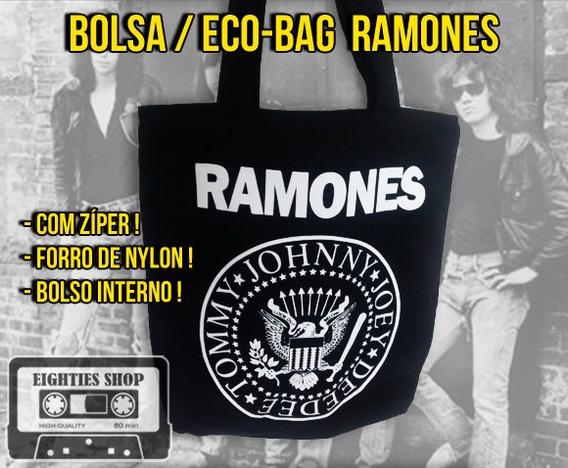 Bolsa Ramones Com Zíper Forrada Tote Eco Bag Praia Rock Punk